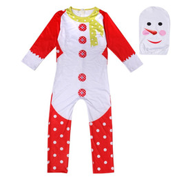 Plus Size Cosplay Outfits Australia - 5-13T Christmas Jumpsuit Zentai Bodysuit Catsuit Mask Outfits Cosplay Halloween Party Kids Boys Girl Snowman Trees Costume Gifts