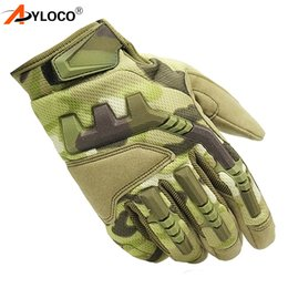 Full Finger Paintball Gloves Canada - AYLOCO Tactical Gloves Men Army Combat Full Finger Camouflage Paintball  Gloves SWAT Soldiers Shoot Bicycle Mittens
