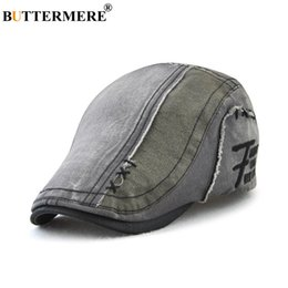 45deddf5d1d BUTTERMERE Gray Berets Hats For Men Cotton Patchwork Duckbill Ivy Flat Caps  Male Adjustable Washed Vintage Autumn Directors Cap