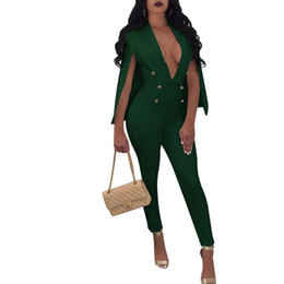 Plus Size V Neck Jumpsuit Australia - NEW Plus Size Cloak Sleeve Jumpsuits Button Sequins Jumpsuit V-Neck Women Office Fashion Long Pants Overalls Bodysuit Rompers