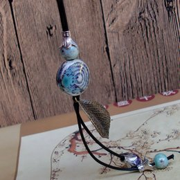 Handmade clay bead necklace online shopping - Ceramic Necklace Handmade Retro High temperature firing Kiln Long sweater chain Rope Beads Fashion Pendant High grade Clothing Women Jewelry