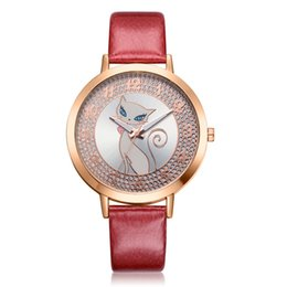 Wholesale GENBOLI Cute Cat Women s Bracelet Wristwatches Leather Strap Simple Girls Rhinestone Dress Quartz Watches Clock GIfts