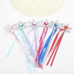 Princess Party ProPs online shopping - Princess snowflake ribbons magic wand baby girls Fairy wand cartoon Rhinestones snowflake Wand gem magic sticks party props decoration C3629