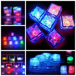 Color Changing light Cubes online shopping - Colorful Flash LED Ice Cubes DIY Water Sensor Multi Color Changing Light Ice Cubes Christmas LED Party Xmas Decor AAA1405