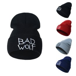 $enCountryForm.capitalKeyWord Canada - Designer BAD WOLF Letters Embroidery Beanies Hats Hip Hop Word Winter Hat For Adults Mens Womens Head Ear Warmer Acrylic Knitted Snow Cap