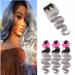 $enCountryForm.capitalKeyWord NZ - Gray Ombre Human Hair With Closure Brazilian Virgin Hair Body Wave Hair 3 Bundles With Lace Closure Two Tone Black To Grey Extension