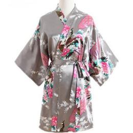 China Gray Peacock Ladie's Short Satin Robe Dressing Gown Women's Leisure Nightgown Lingerie With Belt Kimono Bathrobe Sleepwear cheap lavender bathrobe suppliers