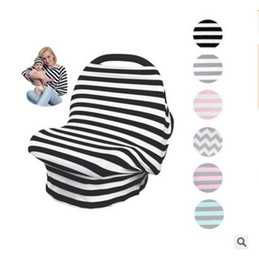 wholesale nursing hats 2019 - Baby Car Seat Cover With Hat Stripe Canopy Nursing Cover Stretchy Infinity Scarf Breastfeeding Shopping High Chair Cover