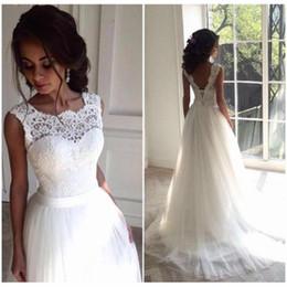 Vestidos de novia de país 2018 Lace A Line Vestidos de novia Vestidos de boda personalizados Boho Vestido de novia Vestidos elegantes de Noiva en venta
