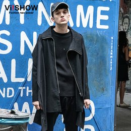 5185d7a7c40 Wholesale- VIISHOW 2017 New Trench Coat Men Brand Clothing TOP Quality  Trench Coat Male Clothing Long Black Zippers Jackets & Coats FC12363