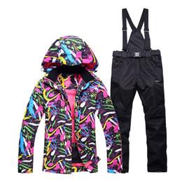 Korean Top Brand Warm Womens Skiing Down Jackets Waterproof Snowboarding  Suits Jackets+ Pants Hooded Comouflage Snow Costumes fe76deb01