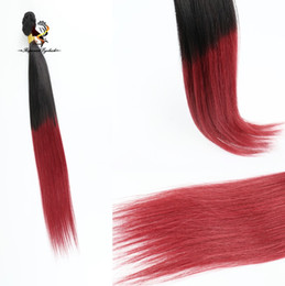 $enCountryForm.capitalKeyWord Australia - Stock Straight Ombre Hair Weaves Color 1B 99J Black brazilian burgundy two tone remy hair weaving