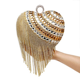$enCountryForm.capitalKeyWord UK - Heart Shaped Tassel Women Messenger Bags Finger Ring Diamonds Small Purse Day Clutches Handbgas For Party Dinner Wedding
