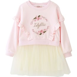 Lotus embroidery online shopping - Vieeoease Girls Dress Flower Kids Clothing Autumn Fashion Long Sleeve Embroidery Lotus Leaf Edge Lace Tutu Princess Party Dress EE