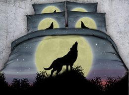 christmas bedding NZ - 3D yellow moon Wolf bedding sets queen christmas duvet cover stars bedlinens single twin king cal king size galaxy bedspreads animal bed set