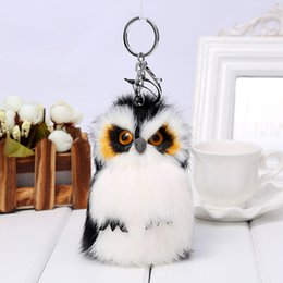 $enCountryForm.capitalKeyWord NZ - Fluffy Owl Keychain Rabbit Fur Pompoms Key Chain For Women Fur Key chains Charm Car Pendant Key Ring For Handbag Silver Llavero