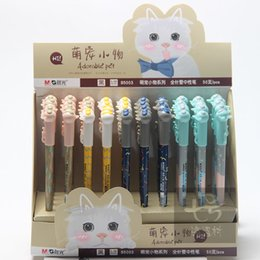 Pet stationery online shopping - 4pcs mm Kawai cute adorable pet black blue ink gel pen Student and office stationery
