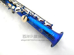 soprano instrument b NZ - Japanese SUZUKI Musical Instruments B(B) Soprano Saxophone Brass Cool Blue Color Surface Sax With Case, Mouthpiece, Accessories