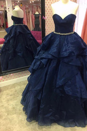 $enCountryForm.capitalKeyWord NZ - Fashion Navy Blue Ruffles Evening Dress Long Cheap 2018 Sweetheart Bling Crystal Ribbon Ball Gown Organza Designer Corset Back Prom Dress