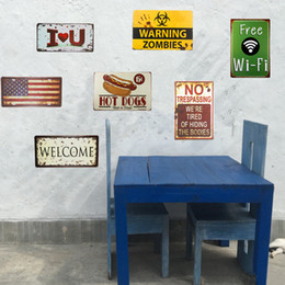 wall stickers restaurants 2020 - Shabby chic Metal Tin signs Restaurant signs Bar Restaurant Decor Craft Cafe Wall Stickers Decor cheap wall stickers res