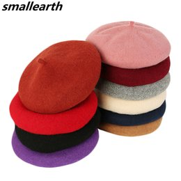 Beanies For Winter NZ - Winter Warm Wool Beret Female French Artist Hats For Women Flat Cap Knit Beanies Hats Lady Girls Berets Female Bone Painter Hat