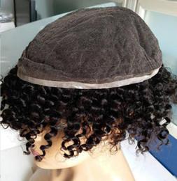 Venta al por mayor de Hombres del cordón lleno Toupee Color negro Rizado rizado Brasileño Cabello humano Kinky Afro Curl Reemplazo completo del toupee de la PU para los hombres Envío libre