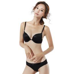 bf24dc98d1d Sexy Padded Push Up Bra and Panty Set Women Bras Underwear Lady deep V  Lingeries Elegant Black Intimates B Cup