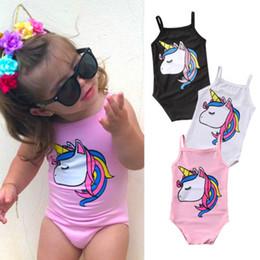 Swimwear Infant Australia - Newborn Infant Kids Baby Girl Unicorn Swimwear One-piece Swimsuit Bathing Suit Beach Clothes Swimwear Black Pink White
