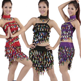 Red Indian Costumes Australia - Quality belly dance costume set bellydance pratice clothes indian set gauze pants color block 7 color necklace&top&dress