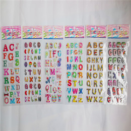 Discount puffy toys 100pcs cute letter alphabet 3D stickers diary PVC puffy reward kids children kawaii bubble stickers for notebook Toys