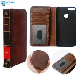 vintage leather book covers UK - Flip Leather cell Phone Case for Huawei Honor 7A Cover Wallet Retro Bible Vintage Book Business Pouch
