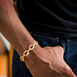 Boys Chain Bracelets NZ - 21cm 2018 cuban link chain lab diamond cz mens bracelet gold plated iced out bling Cool Hip hop Rock boy men jewelry chain KKA2189