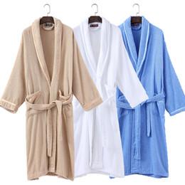 a999f4d91f Towelling Dressing Gowns Australia - Cotton Bathrbe women men winter towel  Pajamas white Night Gown Robe