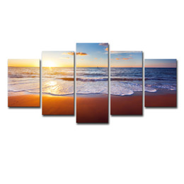 $enCountryForm.capitalKeyWord Australia - Canvas Paintings Wall Art HD Prints Living Room Framework 5 Pieces Beach Sea Waves Pictures Sunrise Seascape Posters Home Decor