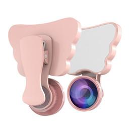 Venta al por mayor de Butterfly Fill Light RK28 Mini LED Selfie Flash Light 3 Efectos con macro Lente gran angular HD ojo de pez para teléfonos móviles Tableta