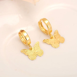 $enCountryForm.capitalKeyWord Australia - skytalenbao Brand 14 k Solid Fine Yellow gold GF Luxury Butterfly Charm Earring Fashion Gold Women Girl Jewelry Gift pretty