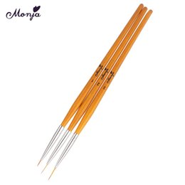 Discount nail tools french brush - Monja 3pcs set 5mm 8mm 12mm Nail Art French Design Flower Painting Drawing Liner Line Brush Pen Manicure Tool