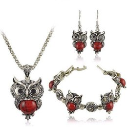 $enCountryForm.capitalKeyWord Australia - Stone Necklace set Owl bracelet&earrings; Necklace Jewelry for Women Pendant Long Chain Necklace-in Pendant Necklaces for gift