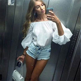 $enCountryForm.capitalKeyWord NZ - Tops Bubble Puff Sleeve cotton Casual T Shirt one pieces Fashion Women clothes Horizontal Neck Off Shoulder