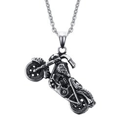 Wholesale Chain Motors NZ - Punk Gothic Skull Motor Motorcycle Pendant Necklace Biker Cool 316L Stainless Steel Personality Punk Jewerly Gift