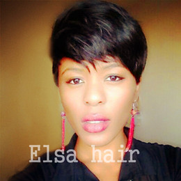 short hairstyle for straight hair NZ - Short pixie Hair Full Lace 100% Human Hair Wig With Baby Hair Glueless Straight Lace Front Wigs for Black Women
