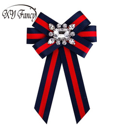 Discount wholesale fabrics for dresses - XY Fancy Women Crystal Bow Brooches Collar Pin Jewelry Canvas Fabric Bowknot Brooch for Women Dress Shirts Accessories Z