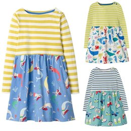 Chinese Floral Paintings Australia - Fashion Stripe Girls Dresses Long Sleeve Children Dress Girl's Blouse Painting Kid One-Piece Clothes Butterfly Vestidos 2-10Year