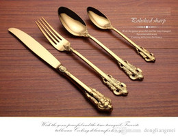 gold plate kits Australia - cariel Vintage Western Gold Plated Dinnerware Dinner Fork Knife Set Golden Cutlery Set Stainless Steel 4 Pc Engraving Tableware wn584 30set