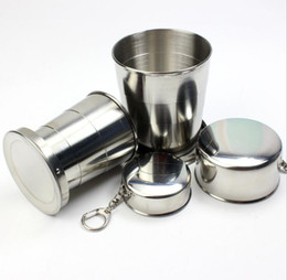 stainless steel telescopic cup Canada - 150ml Folding Cup Stainless Steel Portable Outdoor sports Travel Camping Collapsible Cup Metal Telescopic Keychain drinking Mugs