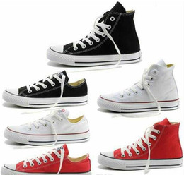 Vente en gros NEW size35-45 Nouveau Unisexe Low-Top High-Top Adulte Femmes Chaussures Toile pour Homme 13 couleurs Chaussures Casual Laced Up Chaussures Sneaker