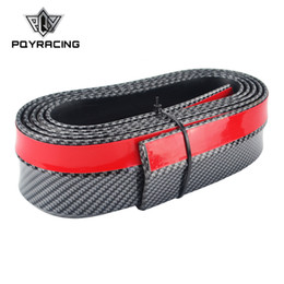 carbon fiber front lip NZ - PQY - Real Carbon fiber Rubber Soft Black bumper Strip Car 60mm Width 2.5m length Exterior Front Bumper Lip Kit Bumper Car PQY-FBL41