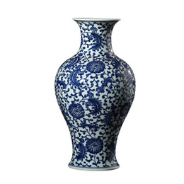China Jingdezhen Blue And White Ceramic Vase Ornaments Hand-painted Feather Pattern Antique Porcelain Chinese Living Table Decoration cheap blue chinese table suppliers