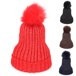 Chinese  2018 New Female Beanies Winter Pompom Hats for Women Warm Knitted Wool Curling Cap Ladies Fashion Hat Bonnet Femme Girls Hat manufacturers