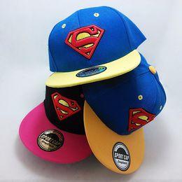38b48e9c053 Designer Superman Embroidery Kid Hats Adjustable Snapback For Children  Party Flat Brimmed Baseball Caps Summer Sports Hip Hop Sun Visor Gift